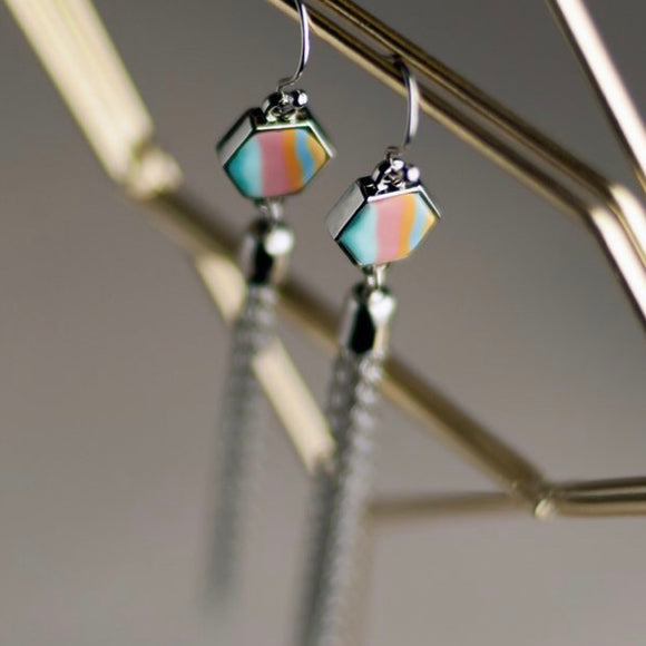 Salt Water Taffy Silver Hexagon Tassel Earrings