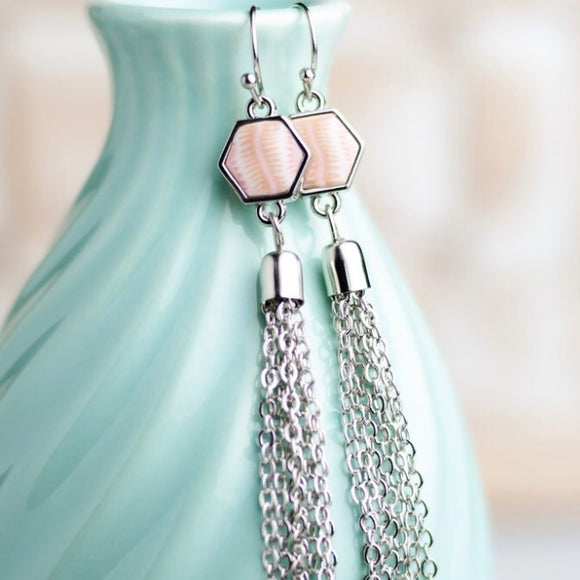 Pink Salt Silver Hexagon Tassel Earrings