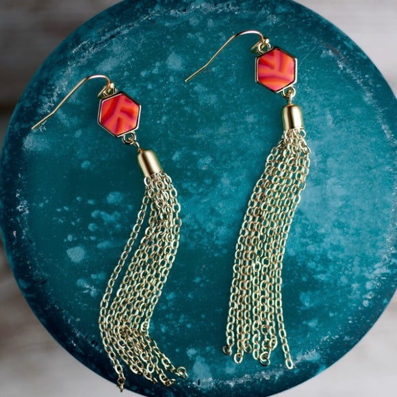 Coral Crush Gold Hexagon Tassel Earrings