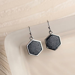Black White Rhodium Hexagon Reversible Earrings