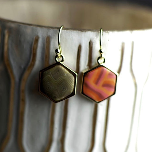 Coral Crush 14K Gold Hexagon Reversible Earrings