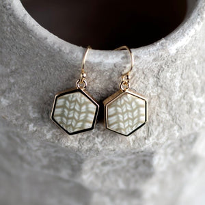 Linen 14K Gold Hexagon Reversible Earrings