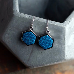 Navajo Blue Rhodium Hexagon Reversible Earrings