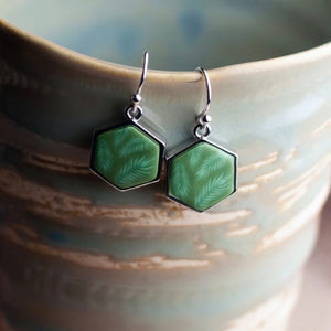 Botanical Green Rhodium Hexagon Reversible Earrings