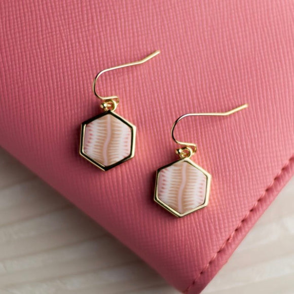 Pink Salt 14K Gold Hexagon Reversible Earrings