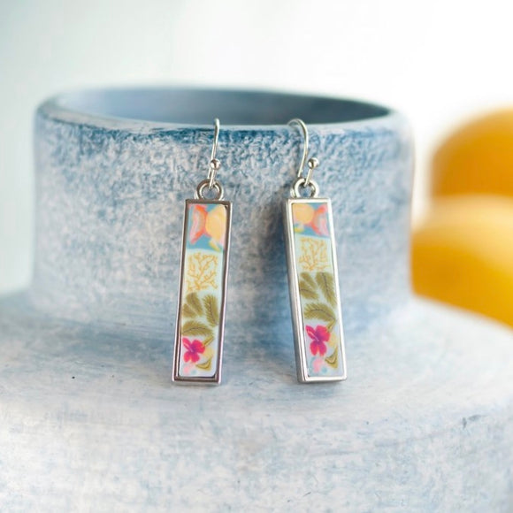 Tahiti Silver Reversible Bar Earrings