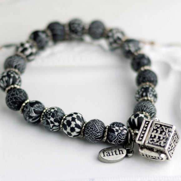Black White Prayer Bracelet