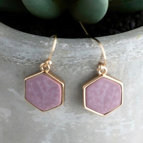 Summer Sand 14K Gold Hexagon Reversible Earrings