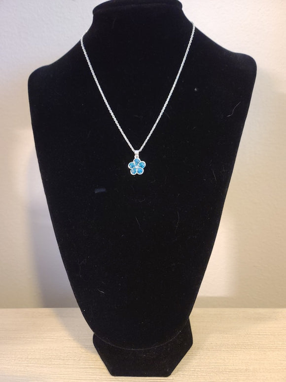 Sterling Silver Necklace - Blue Glitzy Flower