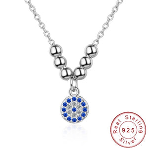 Sterling Silver Necklace - Crystal Circle with Beads