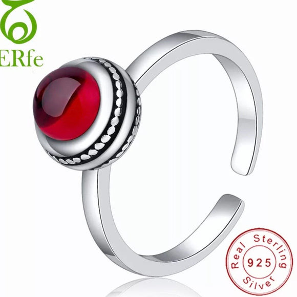 Sterling Silver Ring -  Red Stone