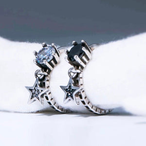 Sterling Silver Ring - Black Crystal with Star Dangle