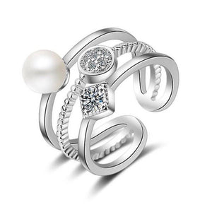 Sterling Silver RIng - Triple Band with Crystals and Pearl