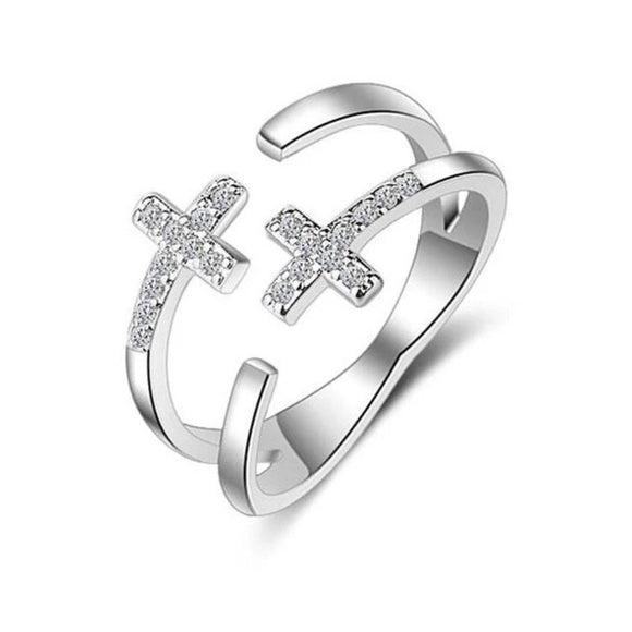 Sterling Silver Ring - Double Cross