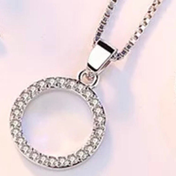 Sterling Silver Necklace - Crystal Circle