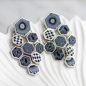 Black White Silver Hexagon Chandelier Earrings