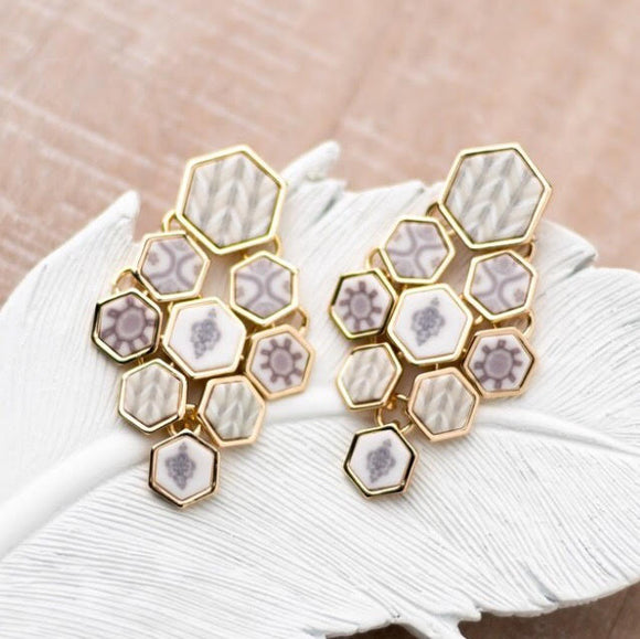 Linen Gold Hexagon Chandelier Earrings