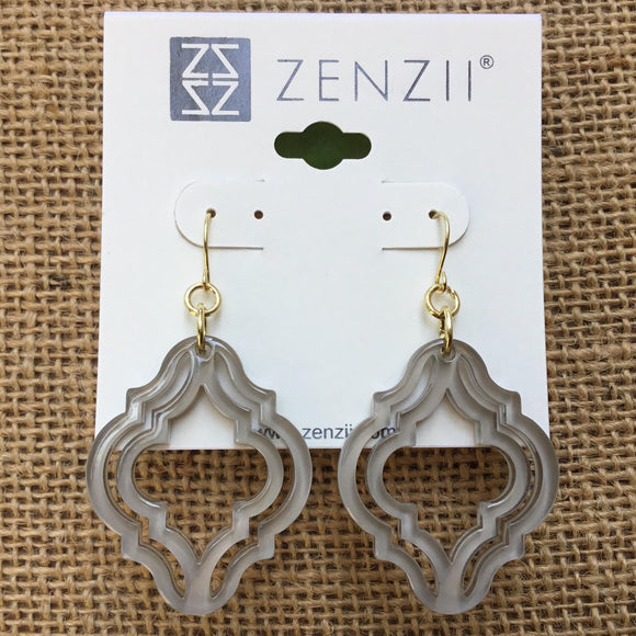 Zenzii Imperial Lattice Earrings - Grey