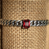 Sterling Silver Bracelet - Curb Chain with Ruby Crystal