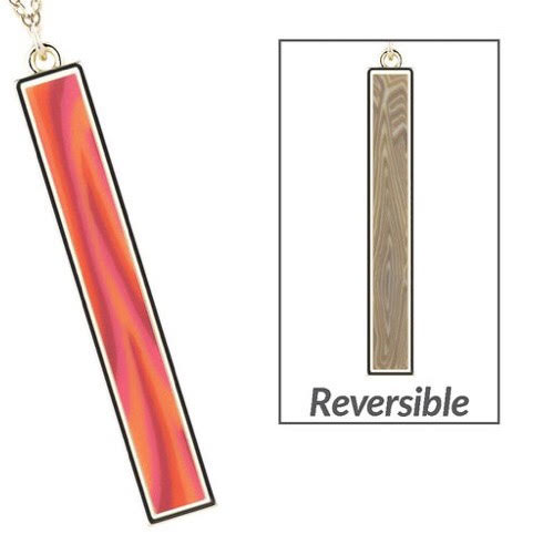 Coral Crush Gold Vertical Bar Necklace
