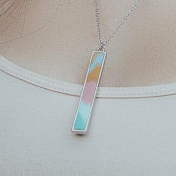 Salt Water Taffy Silver Vertical Bar Necklace