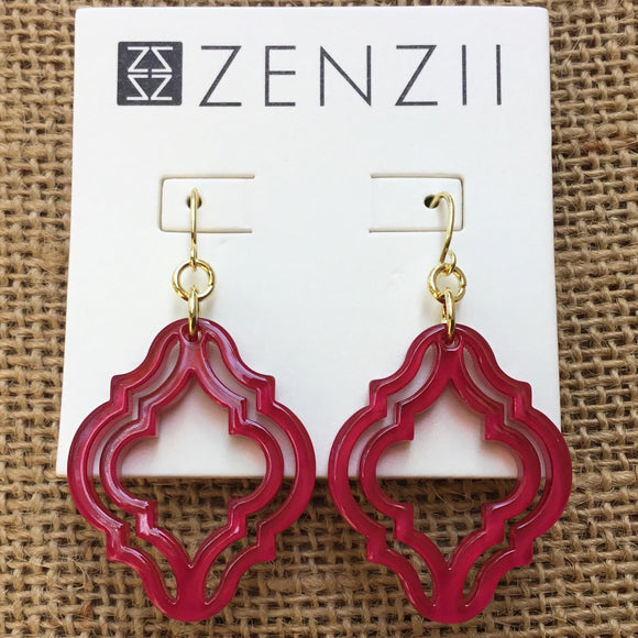 Zenzii Imperial Lattice Earrings - Hot Pink