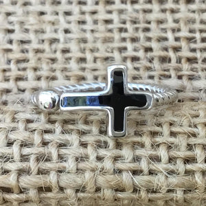 Sterling Silver Ring -  Black Enamel Cross with Silver Bead