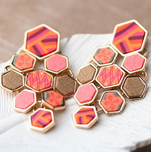 Coral Crush Gold Hexagon Chandelier Earrings
