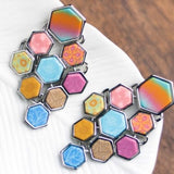 Salt Water Taffy Silver Hexagon Chandelier Earrings
