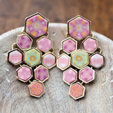 Pink Salt Gold Hexagon Chandelier Earrings