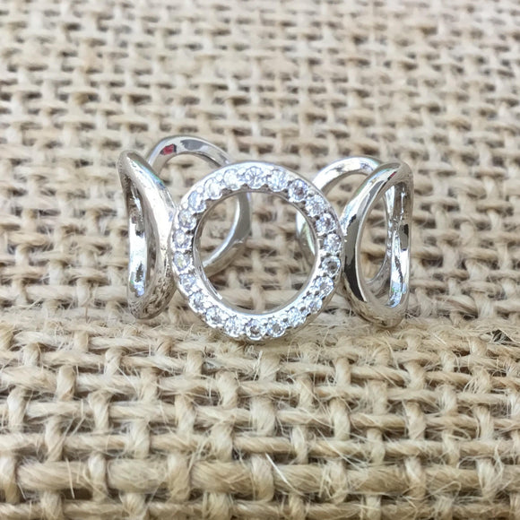Sterling Silver Ring - Wedded Circles with Center Crystals