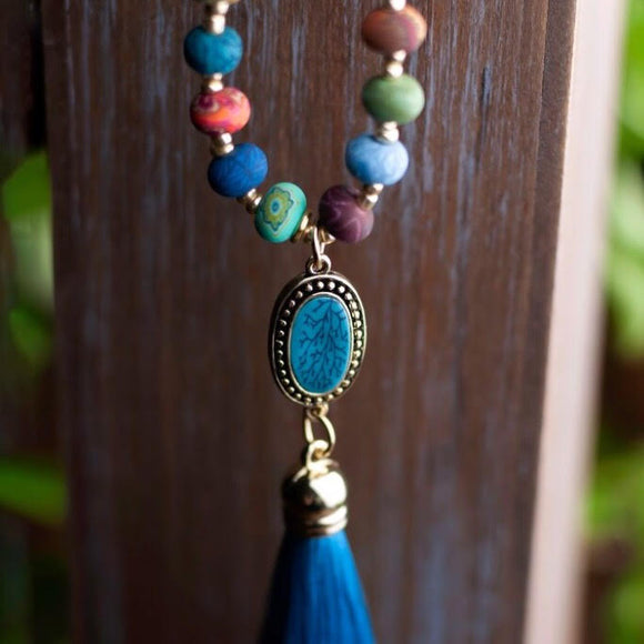 Bohemian Tassel Beaded Necklace