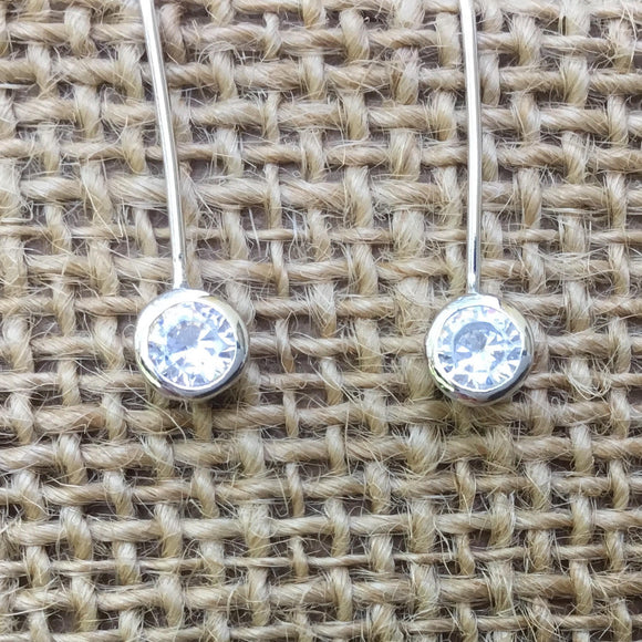 Sterling Silver Earrings - Crystal in Circle Loop