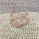 Sterling Silver Ring - Double Triangle Rose Gold