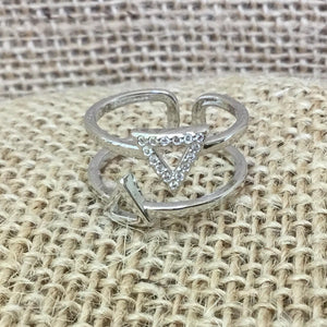 Sterling Silver Ring - Double Triangle