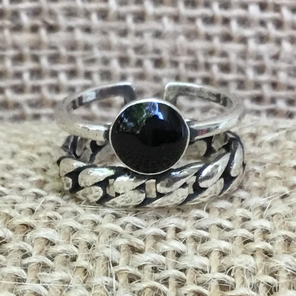 Sterling Silver Ring - Braid & Circle