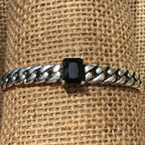 Sterling Silver Bracelet - Curb Chain with Black Crystal