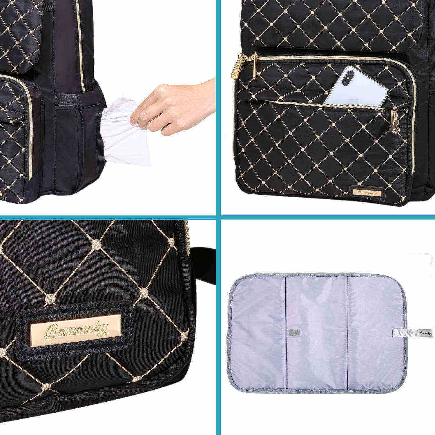 Bamomby Classic Black Diaper Bag Backpack - Bamomby
