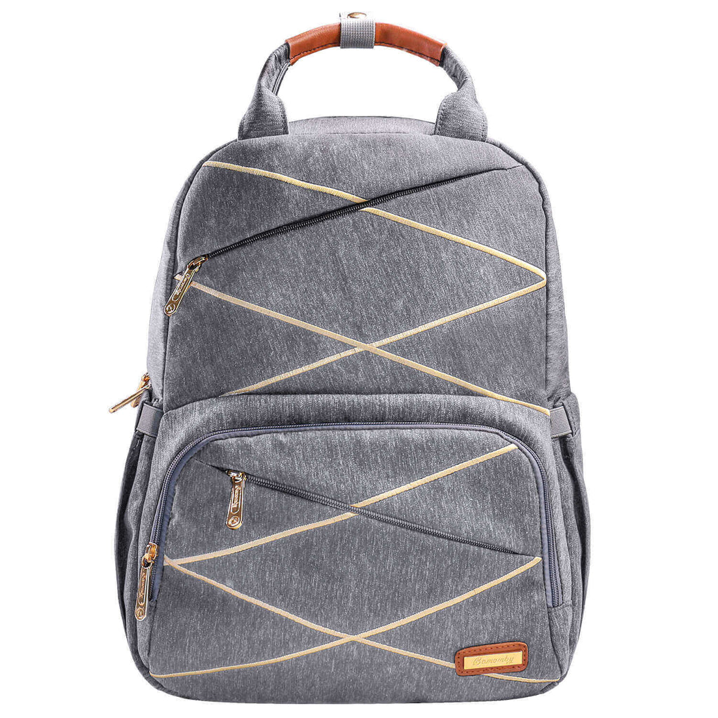 BAMOMBY Baby Changing Bag Backpack Nappy Bag, Grey Stripe - Bamomby