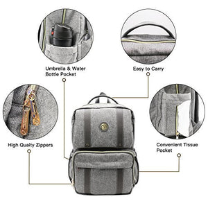 BAMOMBY Baby Bags with Changing Mat for Moms, Grey - Bamomby