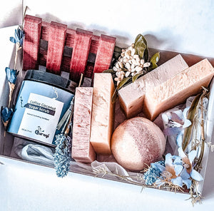 Holiday Gift Box, Gift Basket  for Her, Mothers Day Gift,  Home Spa Set, Soap Bars, Coffee Body Scrub, Relaxation Gift, Gift for Best Friend