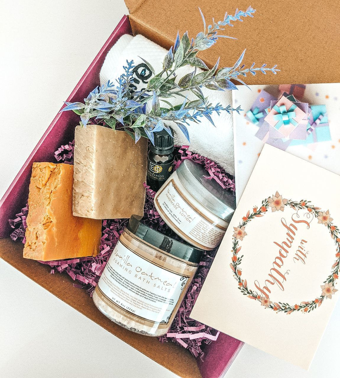 Gift for Mom, Artisan Soap, Body Cream, Bath Salts, Birthday Gift Box, Spa Gift Set, Gift for Mom Gift Box, Aromatherapy