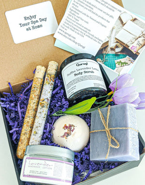 Spa Gift Set, Birthday Gift Box,  Self Care Kit, Relaxation Basket, Bridal Shower Gift