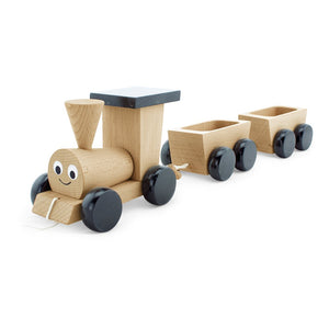 Wooden train with two carts and black wheels and Roof