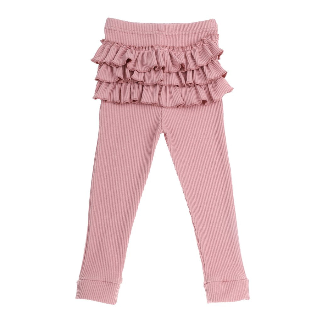 Dusty Pink ruffle bum cotton ribbed tights
