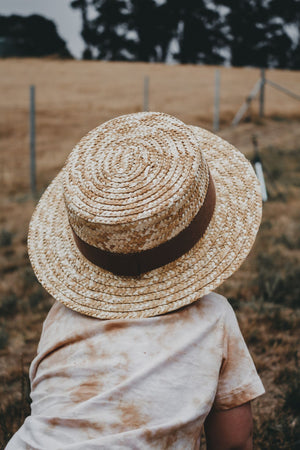 Straw boater hat with brown band