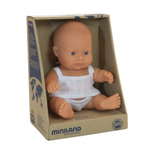 Miniland Caucasian baby boy 21cm in box