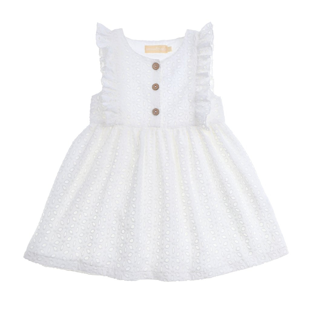 White lace eyelet dress with 3 buttons down the front