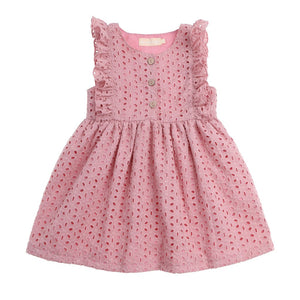 Dusty pink eyelet dress with three wooden buttons