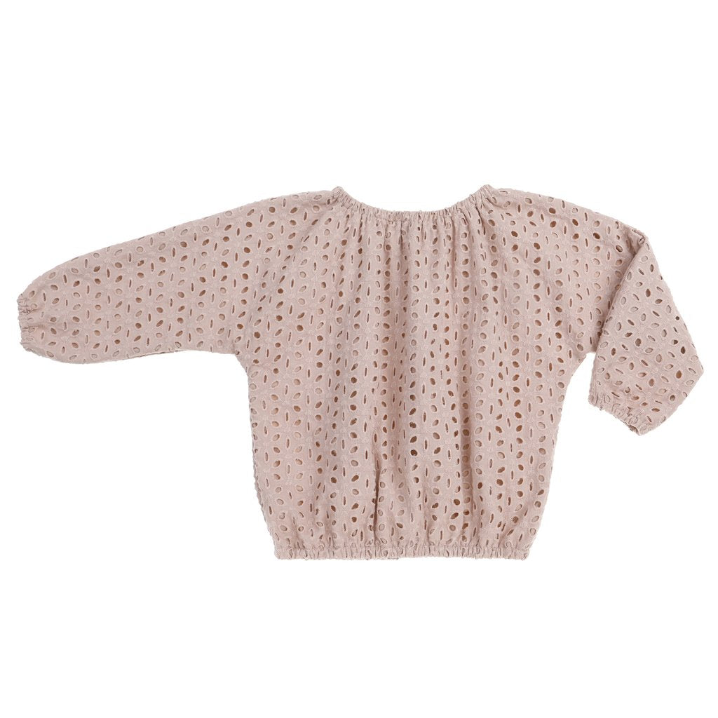 Sand eyelet girls blouse